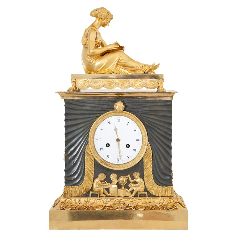 Empire Pendule with Allegory of Sciences, Mallot & Cie, Paris Late 18th Century For Sale