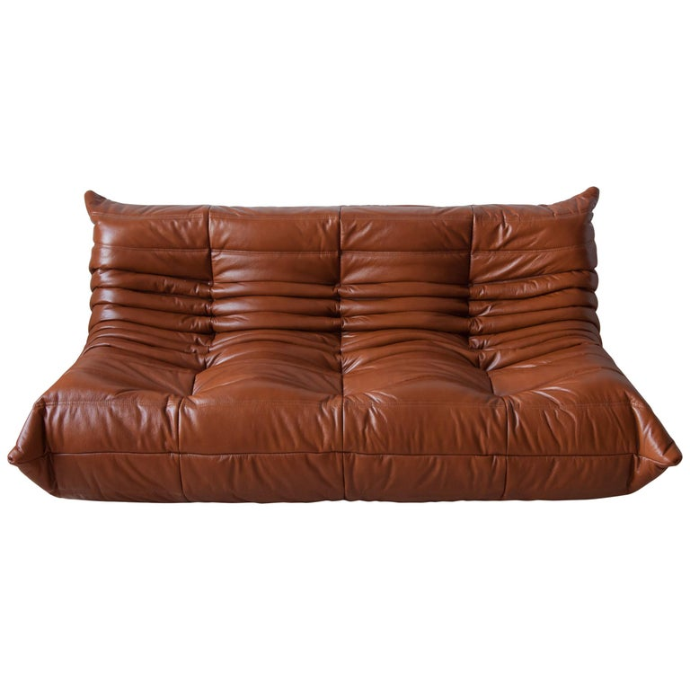 Togo 3-Seat Sofa in Whiskey Leather by Michel Ducaroy for Ligne Roset For Sale