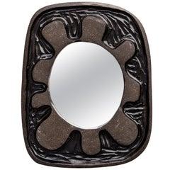 Russo Ceramic Mirror in Matte Black Glaze by Melissa Cromwell