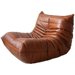 Togo Longue Chair in Whiskey Leather by Michel Ducaroy, Ligne Roset