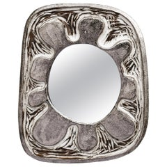 Russo Ceramic Mirror in White/White Gold Glaze by Melissa Cromwell