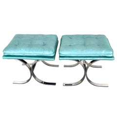 Pair of Milo Baughman Style Chrome Curule Benches