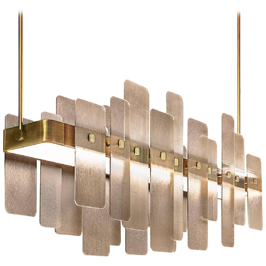 Chandelier Made in Champagne Finish Brass Glass in Bronzed Finish