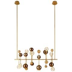 Ceiling Lamp in Darkened Brass or Brushed Nickel Decorative Glass Sphere