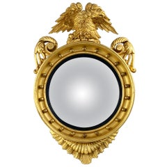 19th Century Impressive Regency Giltwood Carved Convex Wall Mirror