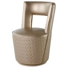 Chair Silver or Bronze Decorative Frame Opening at Back Swivel Base