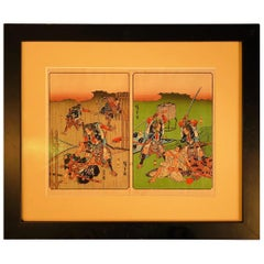 "Japanese Antique ""Samurai Story Tale"" Framed Woodblock Print Vibrant Colors"