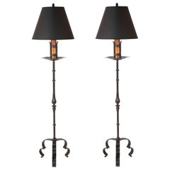 Pair of Spanish Wrought Iron Floor Lamps