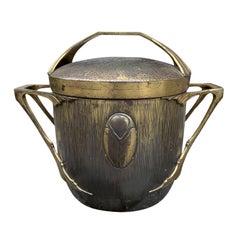 Art Nouveau Bronze Wine Bucket with Lid, circa 1900