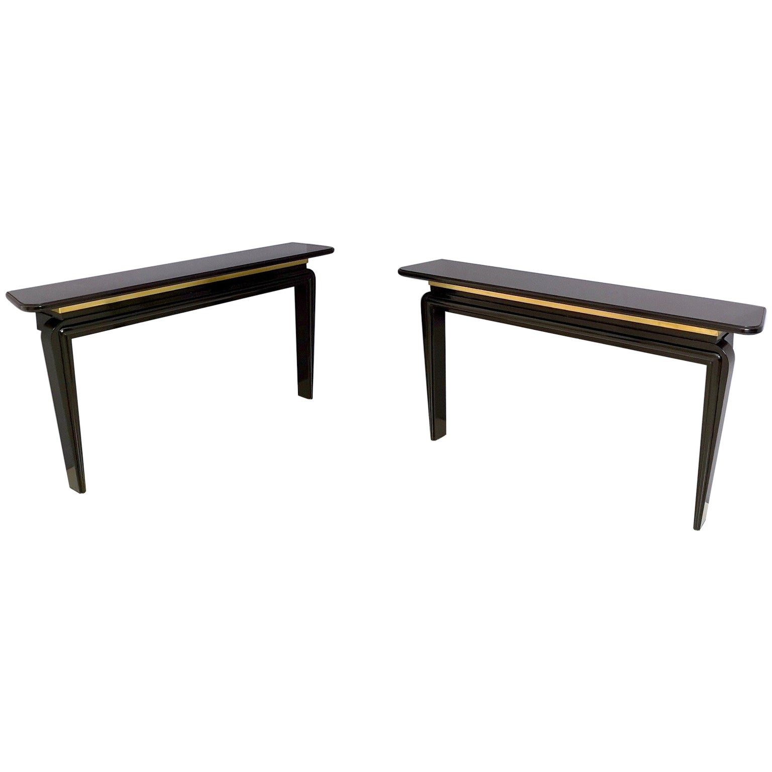 Pair of Black Lacquered Wood and Brass Console Tables, Italy, 1980s