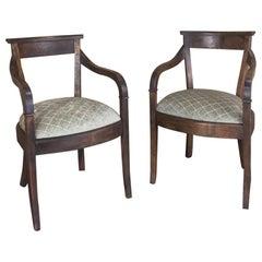 Pair Midcentury Directoire Cherrywood Armchairs