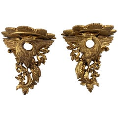 19th Century Pair of Ornate Carved Wood Gilt Wall Brackets