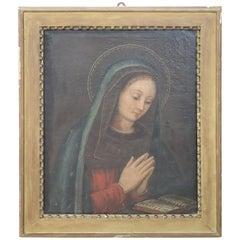 17th Century Italian Oil Painting on Canvas, Virgin Mary in Prayer