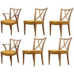 Beautiful Modern Set of Six X-Back Dining Chairs by Paul Frankl Com