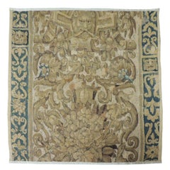 19th Century Green and Gold Verdure Tapestry Fragment
