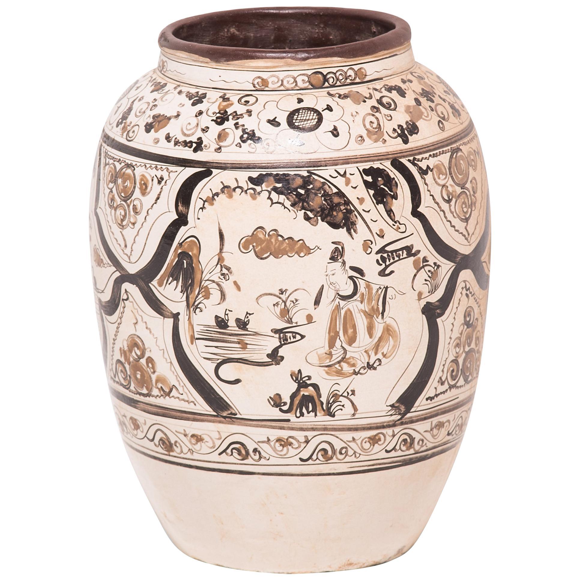 Chinese Qing Scholars' Wine Jar