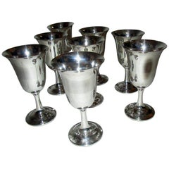 Mid-Century Modern Sterling Silver Wallace Silver Water Goblet Set of Eight