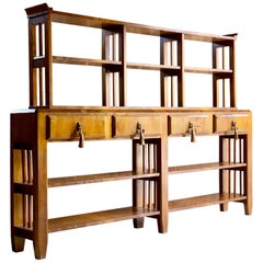 Art Deco Walnut Bookcase Sideboard Dresser, circa 1930