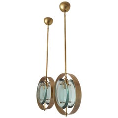 Pair of Mid-Century Modern Max Ingrand Style Brass and Glass Pendants, 1960s