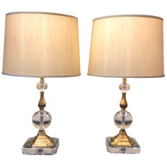 Glamorous Pair of Glass Sphere and Brass Table Lamps by Decorative Crafts