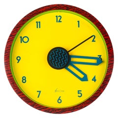 Memphis Wall Clock, Yellow, Red, Green Du Pasquier & Sowden x Neos, Italy, 1980s