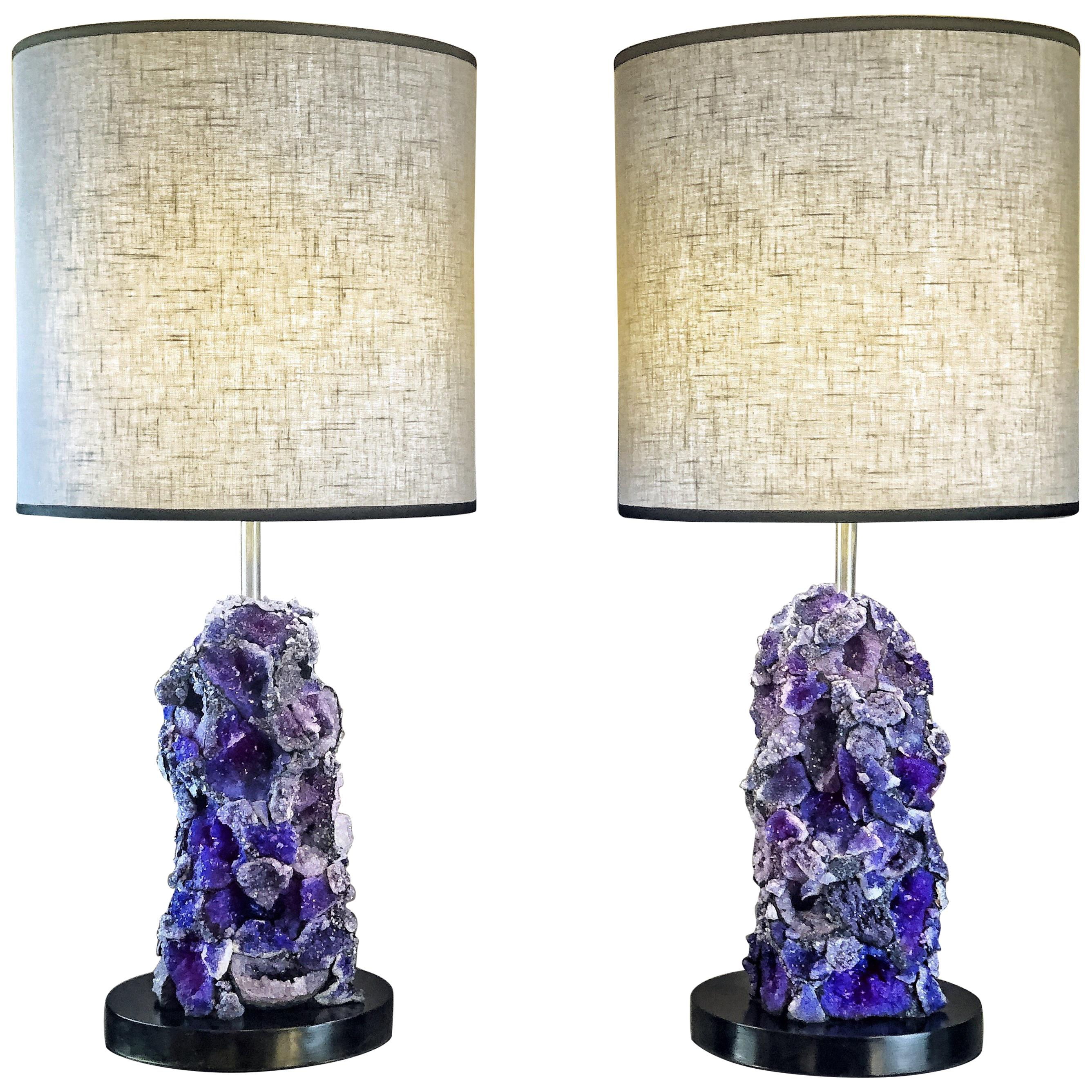 Late 20th Century Pair Of Br And Black Lucite Table Lamps With Grey Shades For At 1stdibs