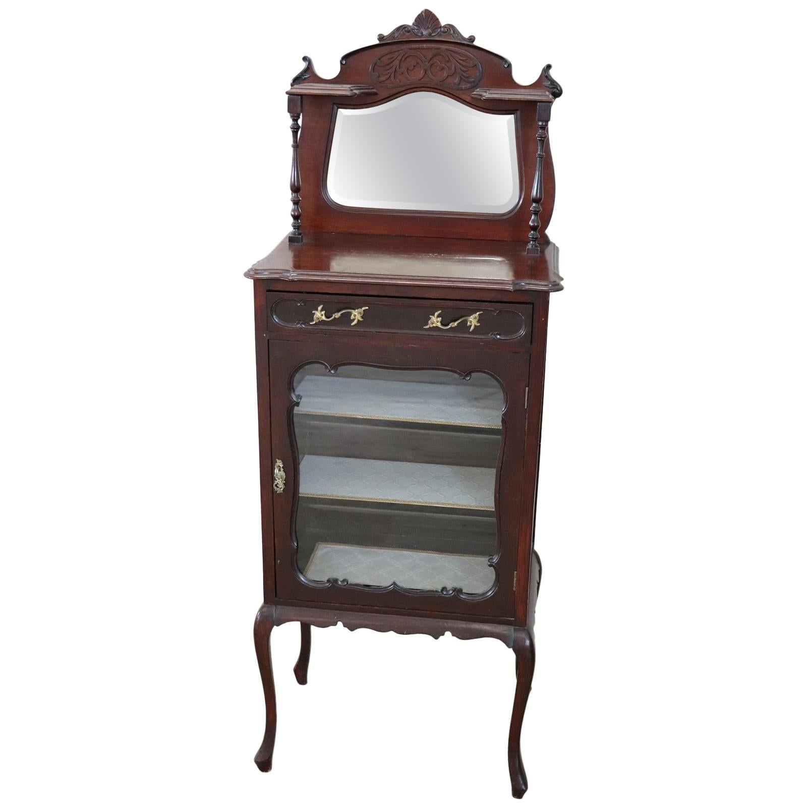 19th Century English Mahogany Carved Antique Vitrine or Display Cabinet