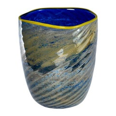 Blue and Green Art Glass Vase with Yellow Lip