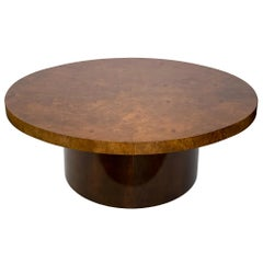 Oval Burl Wood Pedestal Coffee Table