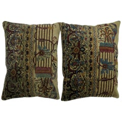 Pair of Persian Kerman Rug Pillows