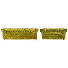 Mid-Century Modern Century Pair Green Tufted Sofa Loveseat Dunbar Baughman Style