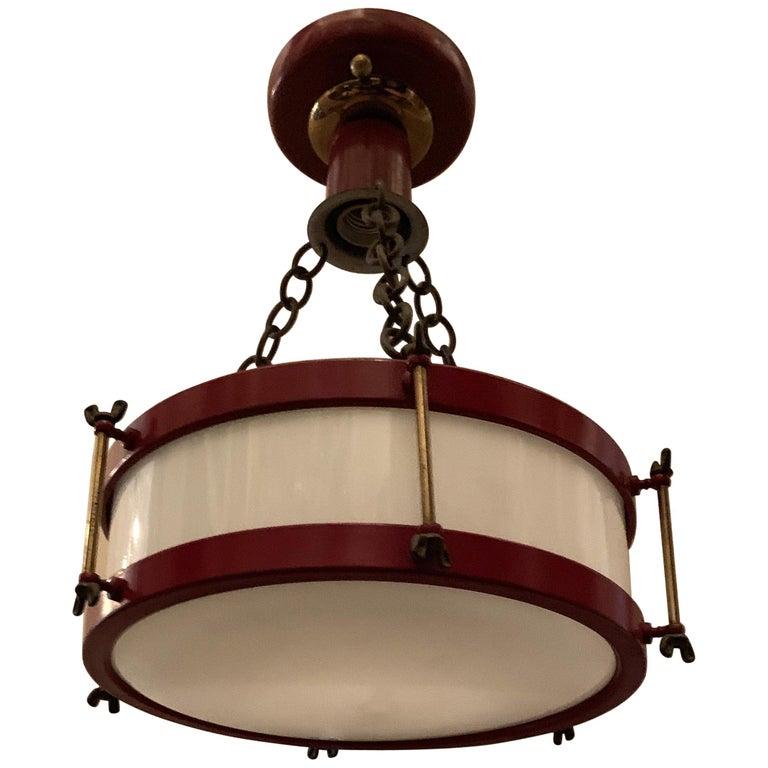 vintage red white glass bronze snare drum flush mount light fixture chandelier for sale at 1stdibs. Black Bedroom Furniture Sets. Home Design Ideas
