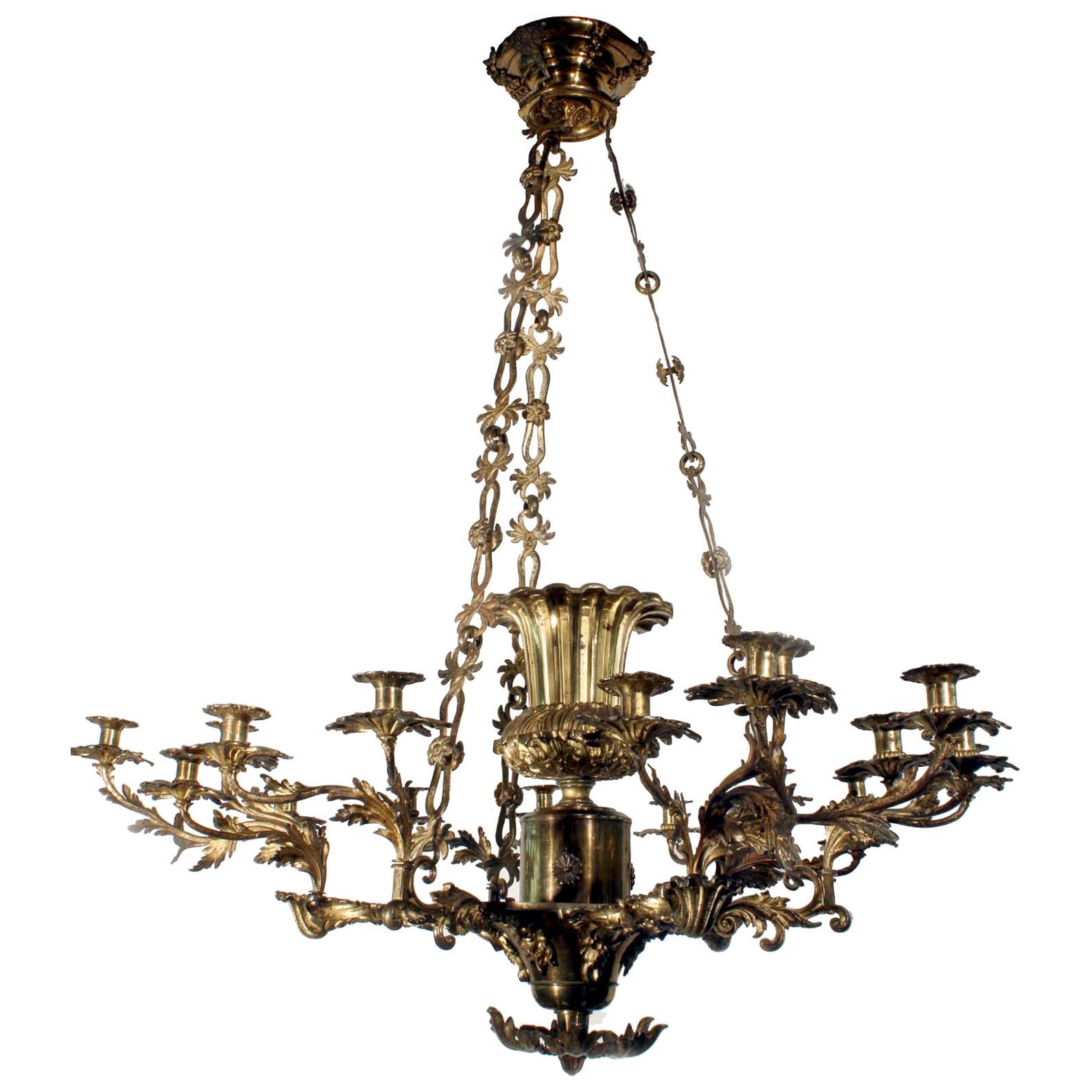 William IV Multi Branch 21-Light Gilt Bronze Chandelier
