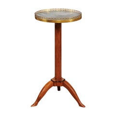 French Directoire Fruitwood Telescoping Green Marble-Top Candle Stand