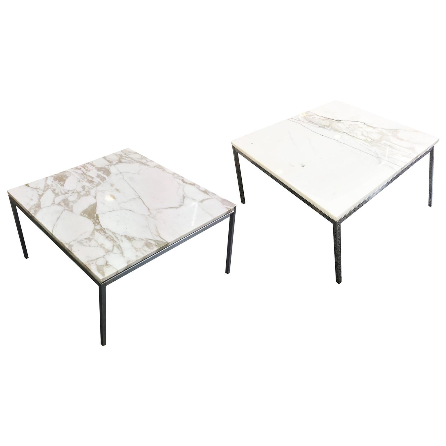 Knoll Attributed White Marble Top Side Table