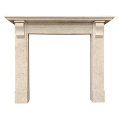 Edwardian Carrara Marble Corbel Fireplace Surround