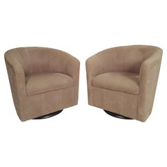 Pair of Barrel Back Swivel Chairs