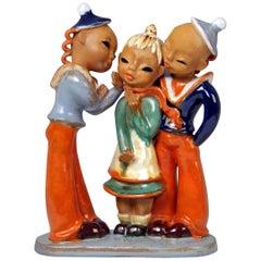 Goldscheider Vienna Three Figurines Two Boys Girl Model 7841, Goebel, circa 1937