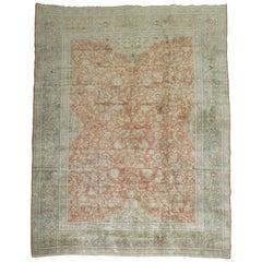 Orange Vintage Persian Kashan Carpet