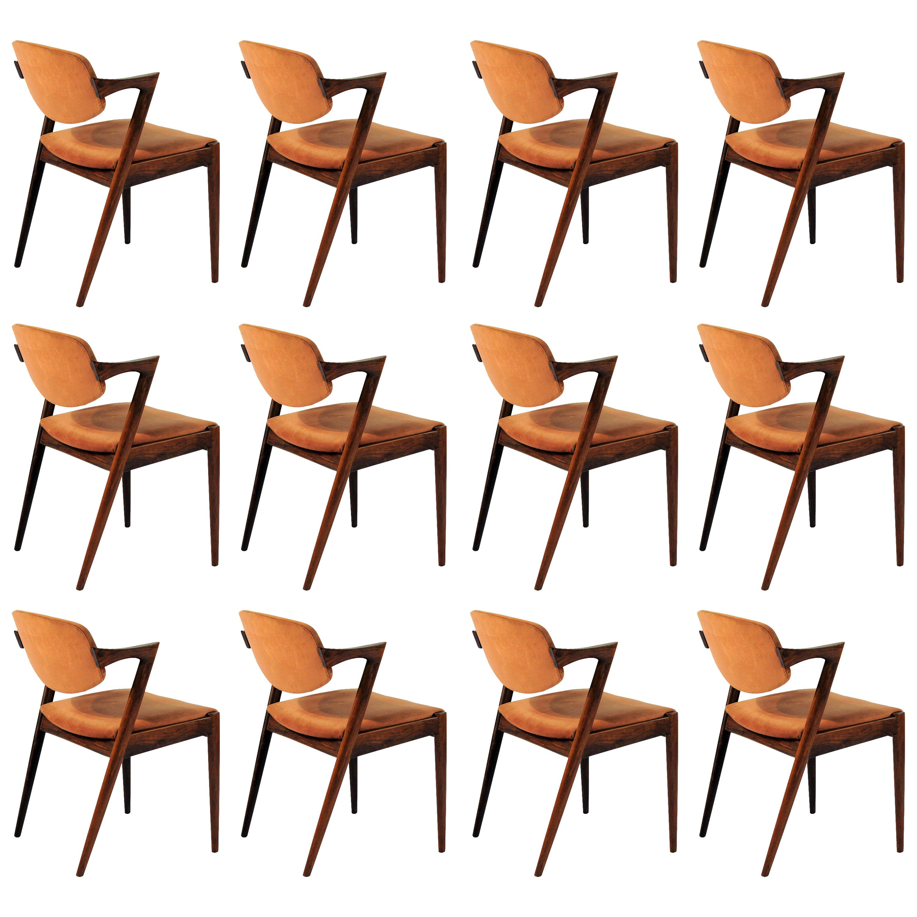 Twelve Kai Kristiansen Refinished Rosewood Dining Chairs, Inc. Reupholstery