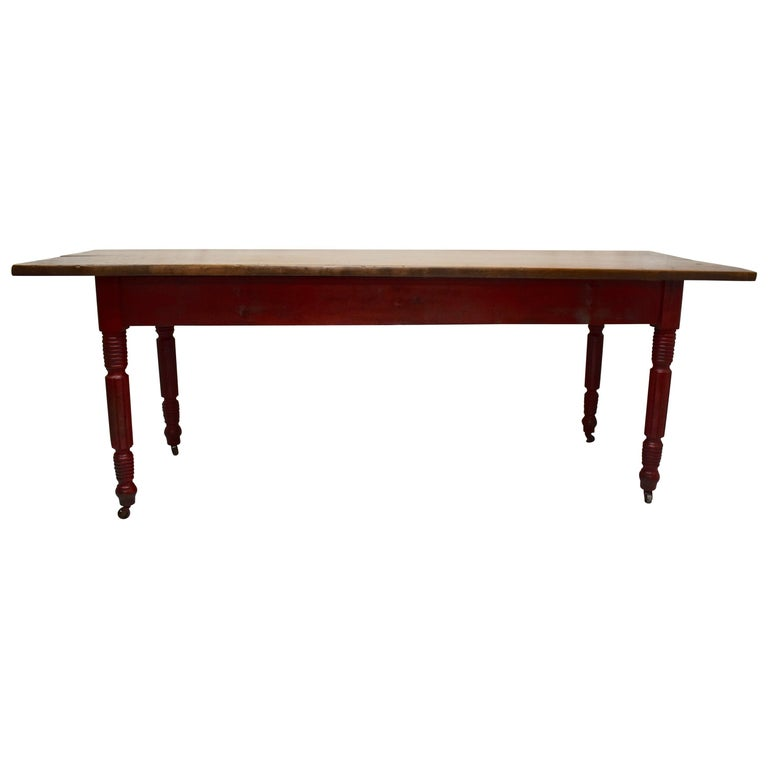 Chestnut and Oak Two Board Farmhouse Table For Sale