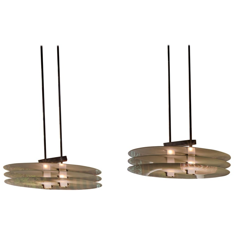 Pair of Italian 1980s 3-Tiered Glass Hanging Fixtures For Sale