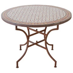 Spanish Dining Table with Moroccan Mosaic Tile Inlay