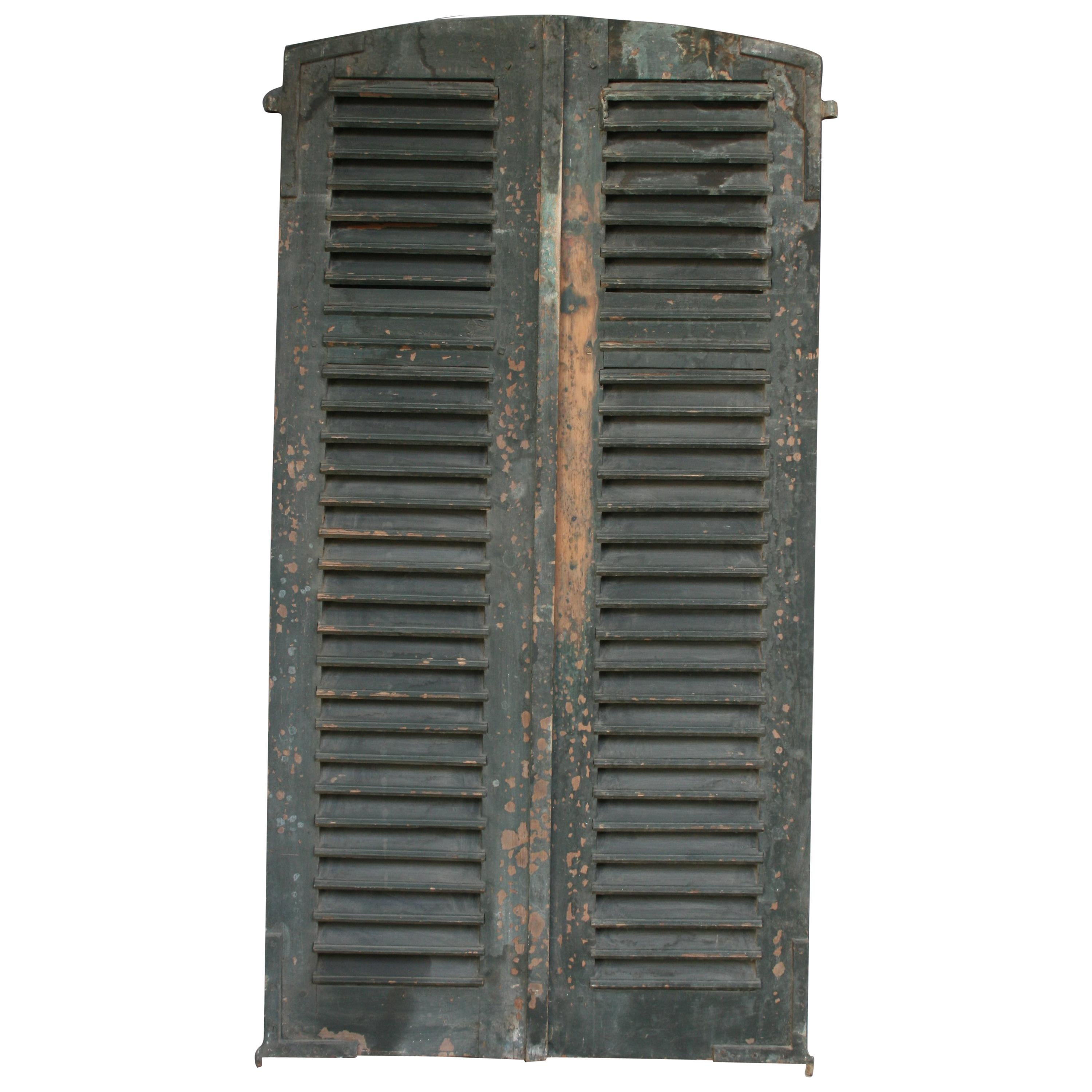 Pair of 19th Century French Shutters with Original Paint