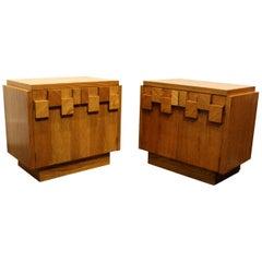 Pair of Oak 1970s Mid-Century Modern Brutalist Nightstands by Lane