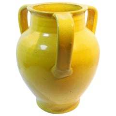 Large Wm. Hancock North Carolina Art Pottery Vase in Chinese Yellow, circa 1915