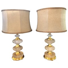 Pair of Art Deco Style Rock Crystal Diskus Table Lamps with Custom Shades