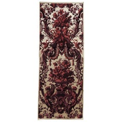 Antique Red and Burgundy Silk Cut Velvet Allegorical Panel