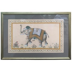 20th Century Framed Indian Ceremonial Elephant on Silk