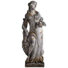 Cast Stone Garden Statue of Demeter, England, circa 1950